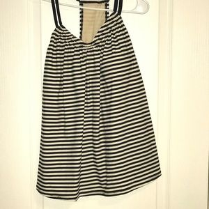 Black and white strip tankini